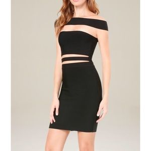 Bebe off the shoulder cut out bodycon dress